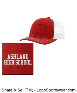 Red/white AHS trucker hat Design Zoom